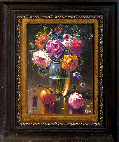 Floral Bouquet with Glass Vase