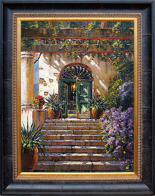 Bob pejman - Green Door Villa LeScalle Capri Original Oil