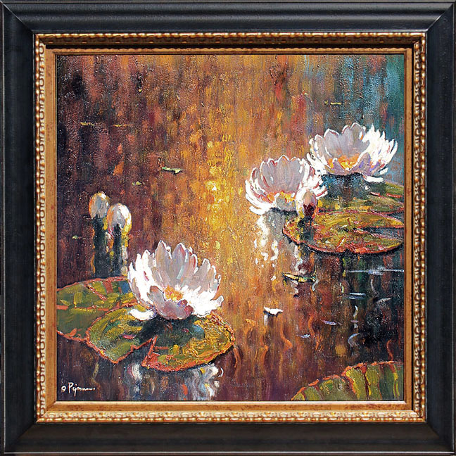 Bob pejman _ White Lilies at Sunset Original Oil